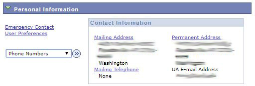 Personal information showing selector for Phone Numbers
